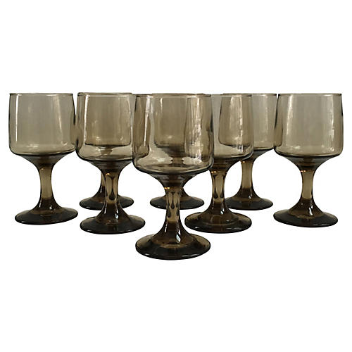 Midcentury Wineglasses, S/8