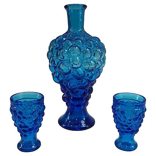 1960s Italian Cobalt Decanter Set, 3 Pcs