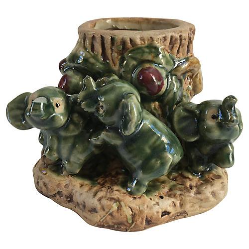 Majolica Elephants Vase