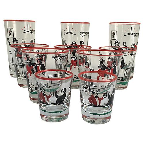 Midcentury Assorted Glasses, 10-Pcs