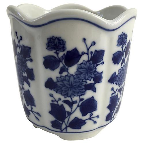 Porcelain Blue & White Floral Cachepot