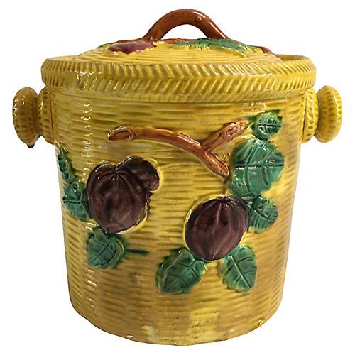 Majolica Biscuit Barrel