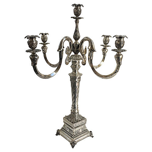 French Silver-Plate Candelabrum