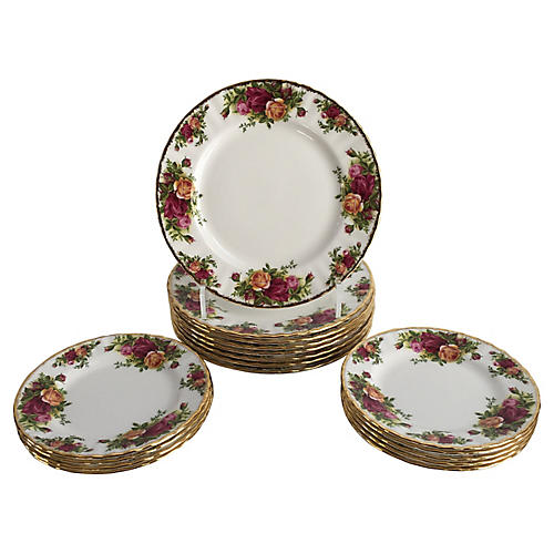 English Porcelain Plates, S/16