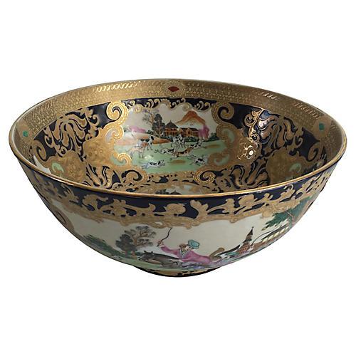 French Porcelain Hunting Scene Bowl