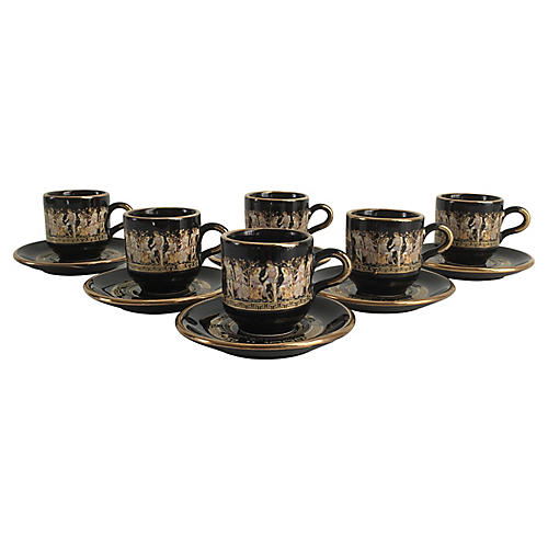 24K Gold & Black Demitasse Set, 12-Pcs