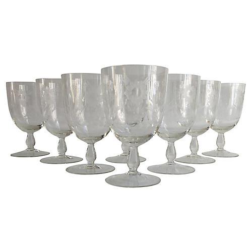 1920s Floral Cut-Crystal Goblets, S/8