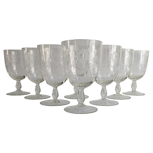 1920s Floral Cut-Crystal Goblets, S/8