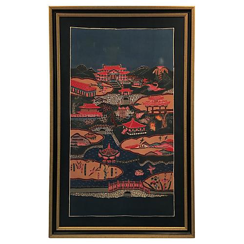 Chinoiserie-Style Framed Bingata