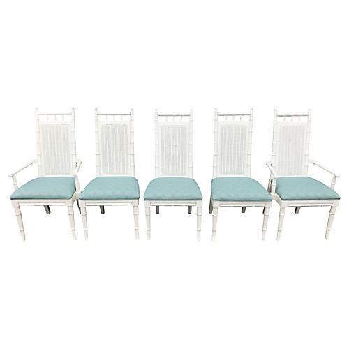 White Faux-Bamboo Dining Chairs, S/5