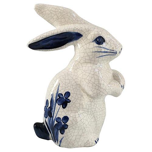 Blue & White Rabbit Figurine