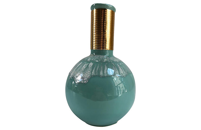 Hollywood Regency-Style Turquoise Vase