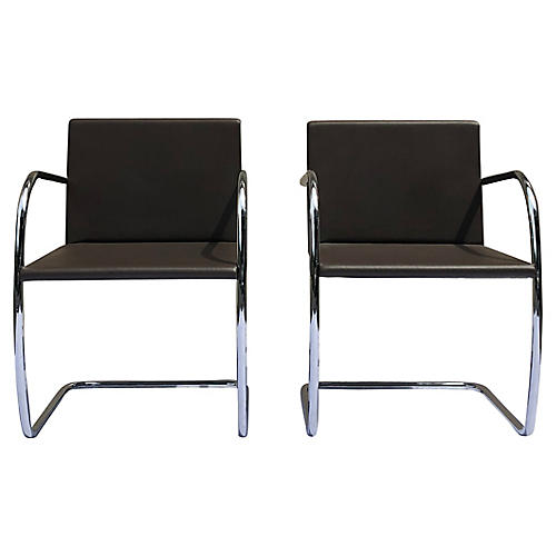 Mies Van Der Rohe Brno Knoll Chairs, S/2