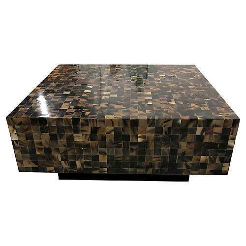 Floating Tessellated Horn Cocktail Table