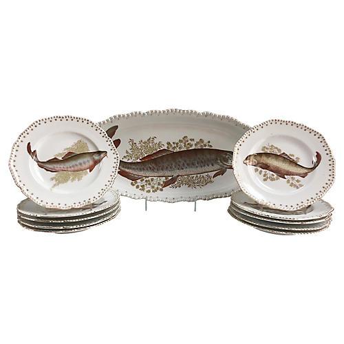 1890s Porcelain Fish Serving Set, S/11