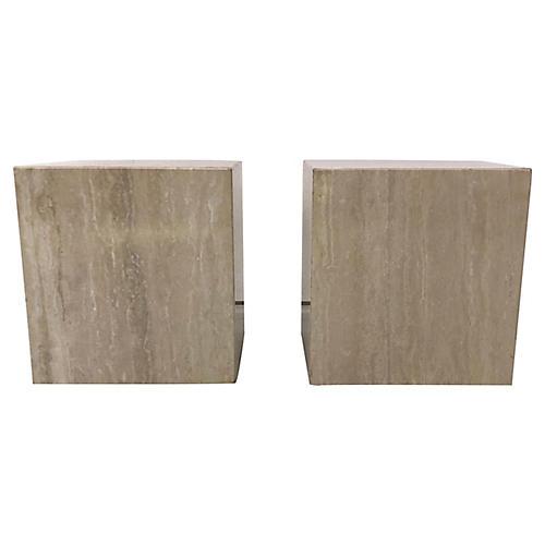 Italian Travertine Cube Tables, S/2