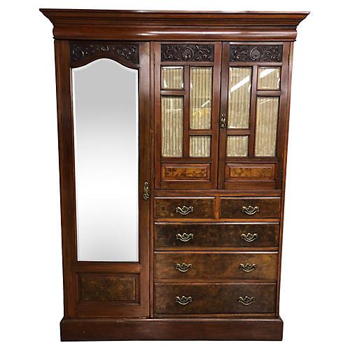 19th-C. English Wardrobe Cabinet