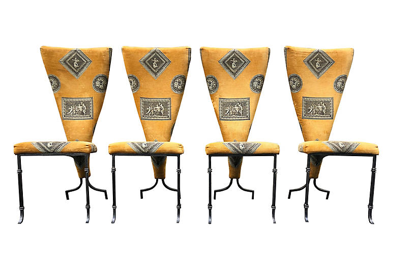 Italian High-Back Dining Chairs, S/4
