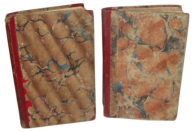 Books w/ Marbelized Covers, 1850, Pair