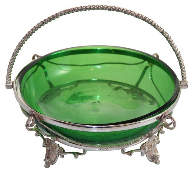 Emerald Glass Candy Dish