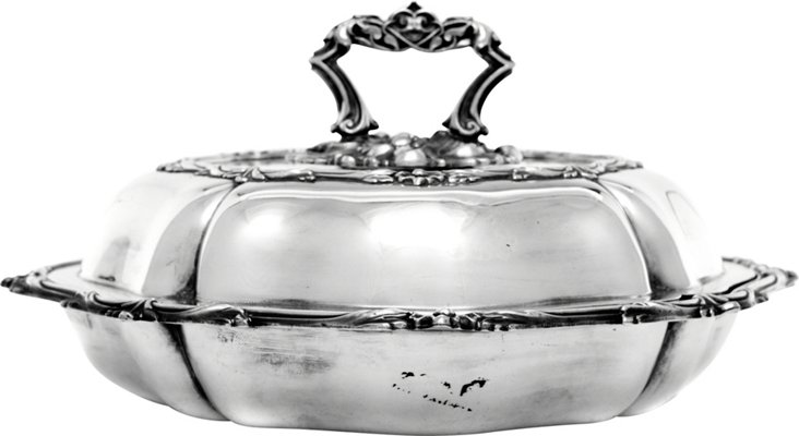 19th-C. Silverplate Entrée Dish & Cover