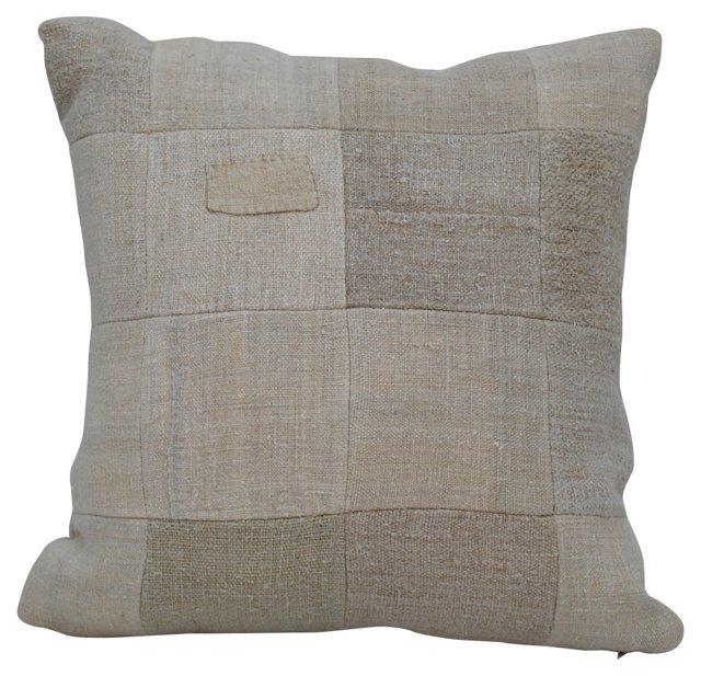 Grain Sack  Patchwork  Pillow