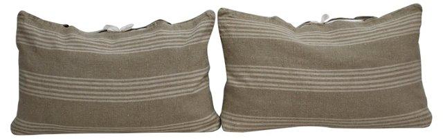 Striped Linen Pillows, Pair