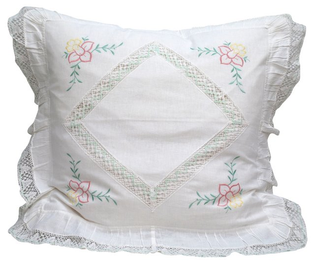 Pillow w/ Embroidered Flowers