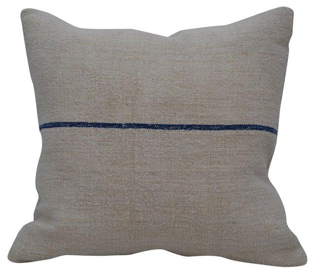 Blue-Striped Grain Sack  Pillow