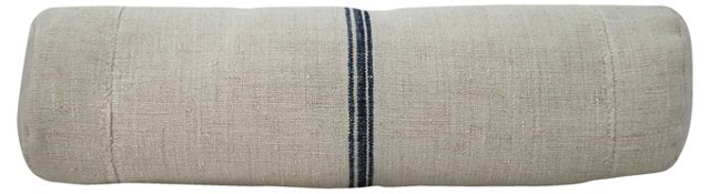 Navy-Striped Grain Sack Bolster
