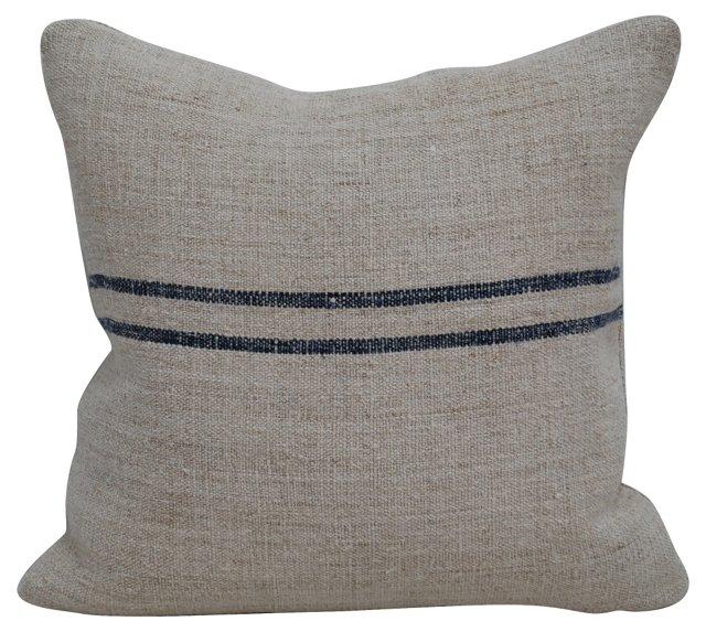 Navy-Striped Grain   Sack Pillow