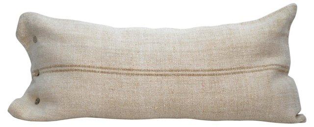 Taupe-Striped Grain Sack  Pillow