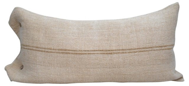 Grain Sack Body Pillow w/ Taupe Stripes