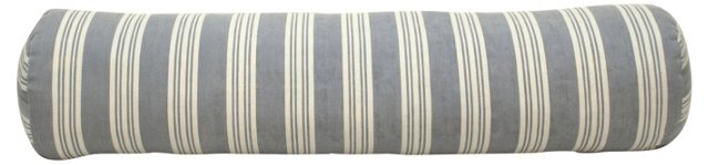 Periwinkle French Ticking Bolster Pillow