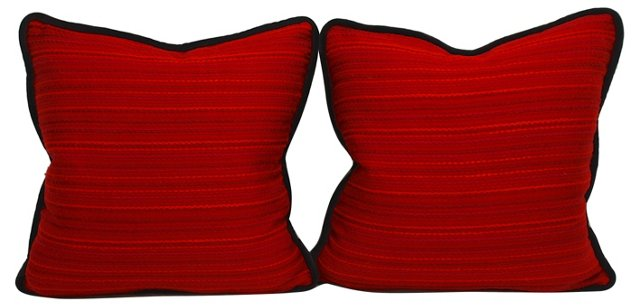 Red & Burgundy Pillows, Pair