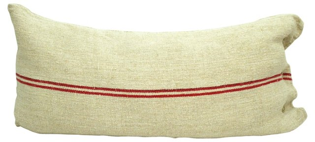 Red-Striped Grain Sack Body   Pillow