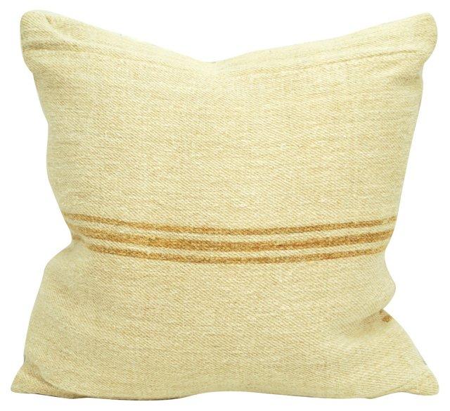 Light Brown-Striped Grain Sack  Pillow