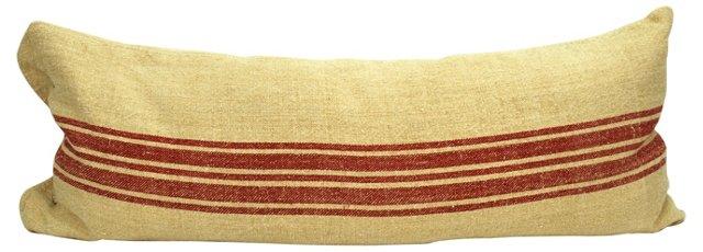Crimson-Striped Body Pillow
