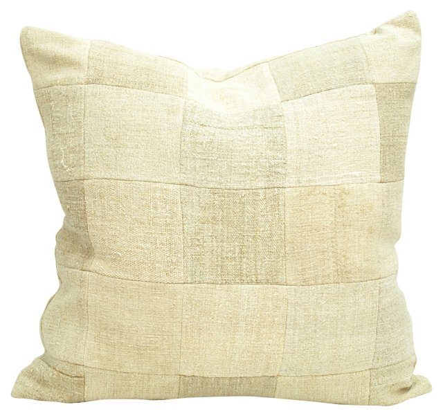 Patchwork  Grain Sack Pillow