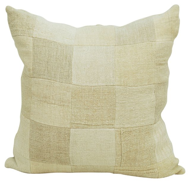 Grain  Sack Linen Patchwork    Pillow