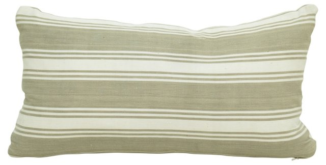 Taupe French Ticking Boudoir Pillow