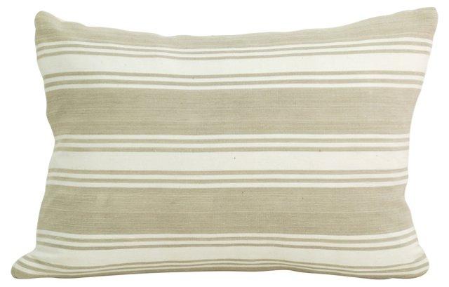 Taupe French Ticking   Boudoir Pillow