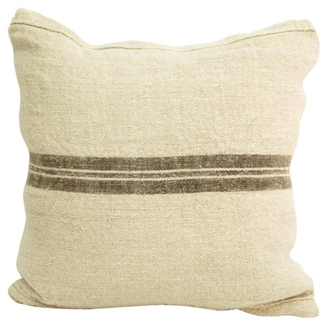Chocolate-Striped Grain Sack Pillow