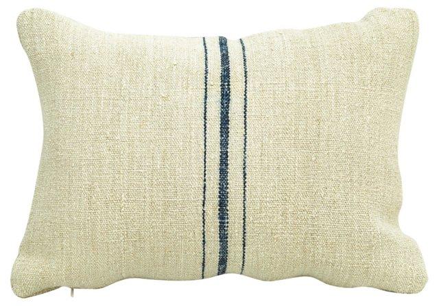 Linen Pillow w/   Navy Stripes