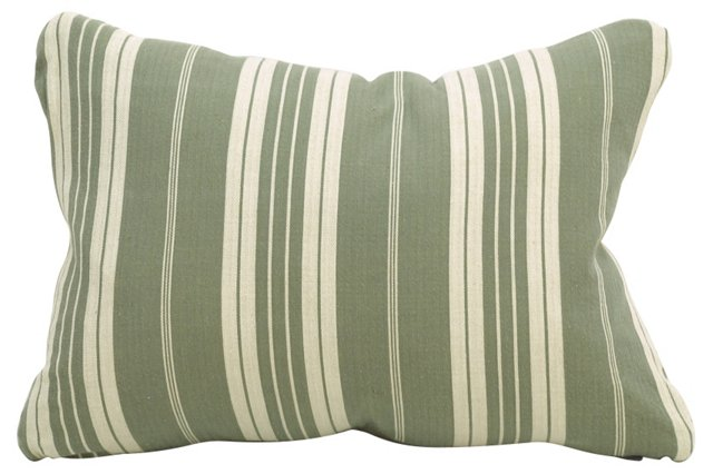 Gray & Cream Ticking Boudoir Pillow