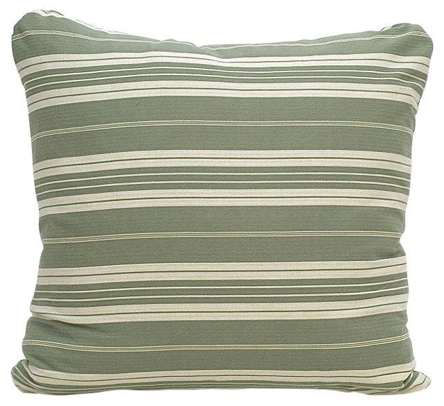 Gray & Cream Ticking Pillow