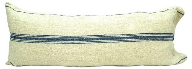 Linen Body Pillow w/ Blue Stripes