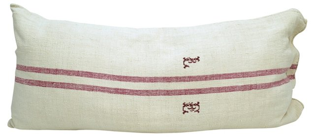Fuchsia-Striped Grain Sack Body Pillow