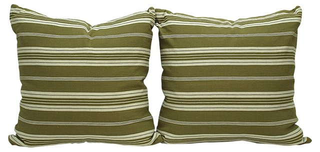 Olive Green Ticking Pillows, Pair