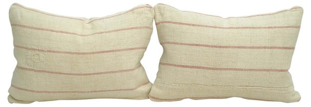 Pink Striped Linen Boudoir Pillows, Pair
